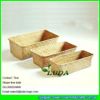 LUDA home storage box natural straw baskets set of 3