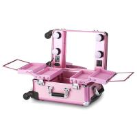 OEM ODM Pink Cosmetic Beauty Case , Professional Makeup Cases On Wheels