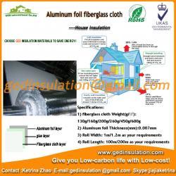 China Reflective Aluminum Sheet Coated Fiberglass Cloth Heat Resistant Insulation on sale