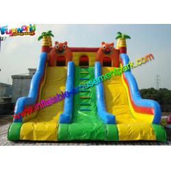 China Three Lane Inflatable Bouncers With Slide Hand Printing 8mLx5mWx6mH on sale
