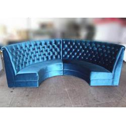 china blue velvet restaurant booth furniture fully upholstered half moon sofa booth on sale - Restaurant Booths For Sale