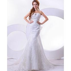 China Mermaid Lace Flower sleeveless Long Train Wedding Dresses with open back , White on sale