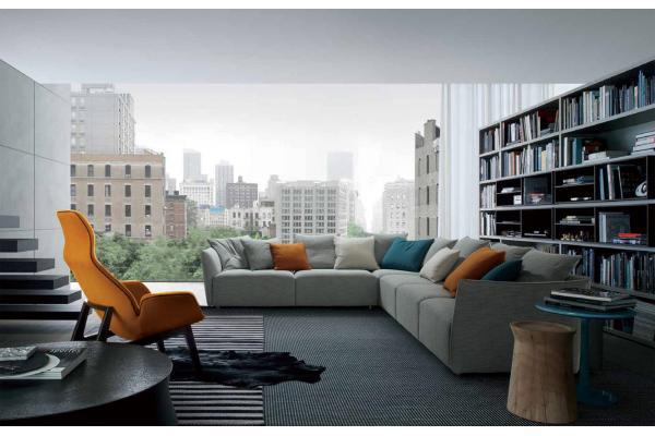 sofs seccionales modernos grises para la sala de estar con el estilo italiano y europeo sofs modernos de la seccin de la tela