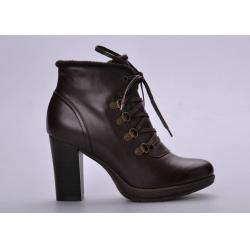 China High Heel Black Ladies / Womens Booties Shoes With Lace Up on sale
