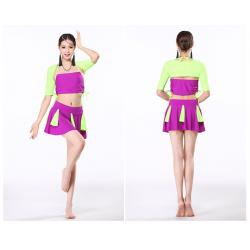 China Contrast color spandex belly dance practice costumes with tassels breathable and healthy on sale