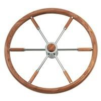 Teakwood And Copper Sailboat Steering Wheel 16.5 Diameter With Control Knob