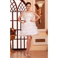 Charming Strapless Satin Ruffle White sequins Evening Dresses For Short Party Gowns With Feather