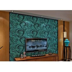China Luxury Soundproof Velvet Flock Wallpaper / 3D Wall Covering With 0.7*10M Size , Eco Friendly on sale