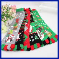 Fashionable OEM christmas snowman design five toes knee high cotton socks
