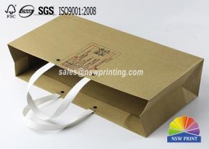 Kraft Custom Paper Shopping Bags , Plastic Handle Eyelet Brown Craft Tea Gift Bags