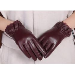 China Elastic Wrist Women Fashion Leather Gloves With Mix Color Frilling Leather Cuff on sale