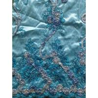 Light Blue Chiffon Sequin Embroidered Fabric For Girls Skirts