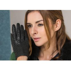 China Warm Serpentine Sheepskin Women Fashion Leather Gloves With Basic Style Black on sale
