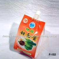 Flat Bottom Food Packaging Plastic Bags, Stand Up Spout Pouch For Sauce Or Liquid Products