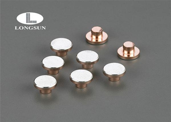 China Round head or flat head silver alloy  rivet contacts Electrical Solid or Bimetal Moving Contact Tips supplier