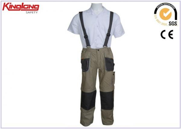 China Safety Working womens bib overalls / 100 Cotton cargo work trousers For Men supplier