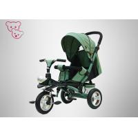 Green Baby Tricycle Bike Qualified Textile Fabric Adjustable Backrest