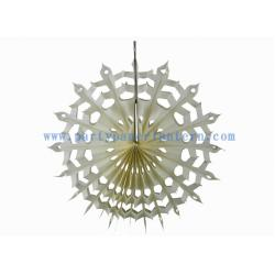 China Handcrafted 12 Inch Ivory , White Hanging Paper Fans For Wedding Decoration on sale