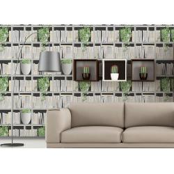 China Green Plants And Books Printing 3D Home Wallpaper  Modern Concise Style For Coffee Shop on sale