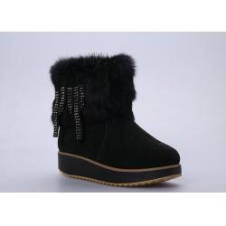 China Cow Leather Ladies / Womens Booties Shoes With Black Tassel Upper on sale