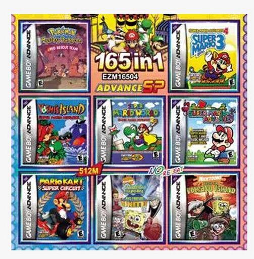 165 In1 Pokemon Games Mario Bros Donkey Kong Games Cards