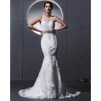 Lace Deep V open back Halter Neck Wedding Dresses mermaid Slim Wedding Gowns