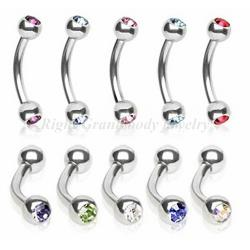 China 316l Stainless Steel Eyebrow Rings Jewelry With Swarovski Stone on sale