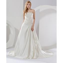 China Fashion fall Satin A line Strapless Wedding Dresses with extra long train , ivory on sale