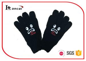 Black Mens Winter Gloves With Offset Printing Monster , Insulated Winter Gloves