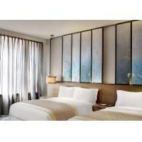 Twin - Bed Luxury Hotel Furniture With Rustic Style Tan Ash Finishing