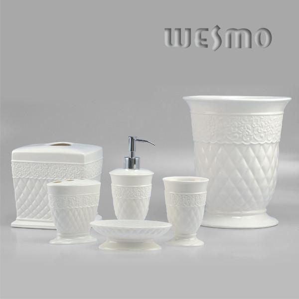 White ceramic bathroom accessories
