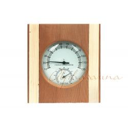 China Wooden color Solid Red Cedar Deluxe Sauna Thermometer Hygrometer , Sauna Accessory on sale