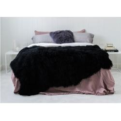 China Luxury Tibetan Real Sheepskin Rug Black Long Silky Curly Fur 120 *180cm For Floor on sale
