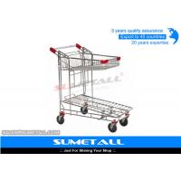 Two Layer Supermarket Grocery Shopping Cart / Metal Shopping Trolley Heavy Duty