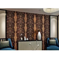 China Luxury Waterproof Velvet Flock Wallpaper for Living Room , SGS CSA Certification on sale