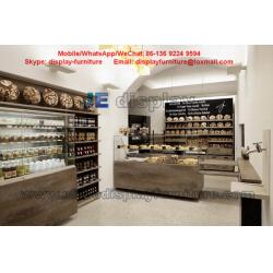China Bakery store Storage showcase selling glass counters and wooden wall shelves in natural on sale