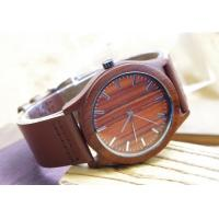 Stylish Waterproof Wooden Watches With Leather Bands / Red Wood