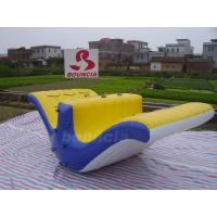 0.9mm PVC Tarpaulin Blue and Yellow Color Inflatable Water  Totter Slides For Pool