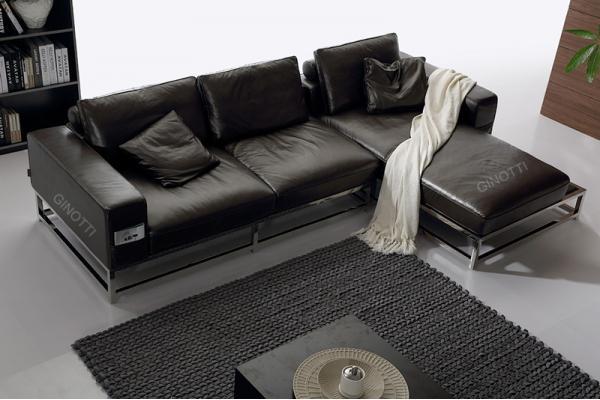 sof de cuero de lujo de europa sofs de cuero negros sof de cuero moderno con la base del acero inoxidable