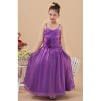 High End Purple A Line Spaghetti Straps Unique Flower Girl Dresses with Organza Fabric