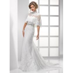 China White Strapless Mermaid Lace Dress , Long Wedding Bridal Gown With Bow on sale