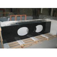 Black Galaxy Granite Tiles Countertop , Natural Solid Surface Kitchen Countertops