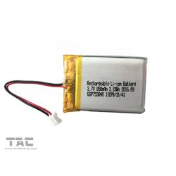 China Rechargeable Li Polymer Battery GSP753040 3.7V 850mAh Lithium Battery on sale