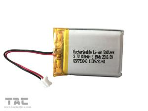 China Rechargeable Li Polymer Battery GSP753040 3.7V 850mAh Lithium Battery supplier
