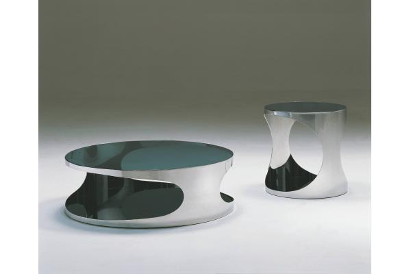 tablas redondas modernas del lado del sof mesa de centro brillante italiana del vidrio del metal