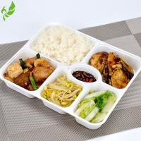 White Color Tray with Transparent Lid Disposable 6 Compartments Food Container For Takeaway