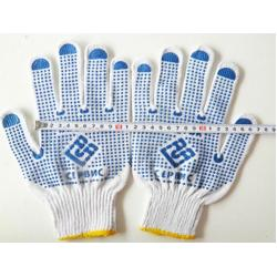 China safety gloves10G natural white cotton dotted gloves good quality low price on sale