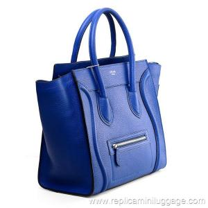 Celine Mini Luggage Tote Bag Pebbled Leather Electric Blue for ...