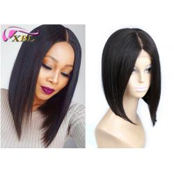 China Remy Natural Human Hair Lace Front Wigs For Black Women , 12 Inch Lace Wig Bob Human Hair With Full Ends on sale