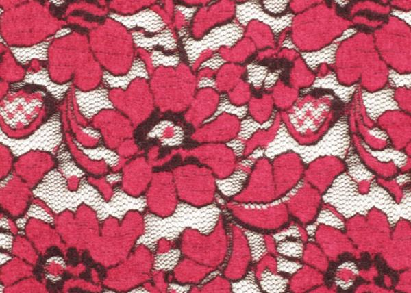 China Red Brushed Elastic Lace Fabric Eco Friendly 135cm Width OEM / OMD CY-LQ0001 supplier